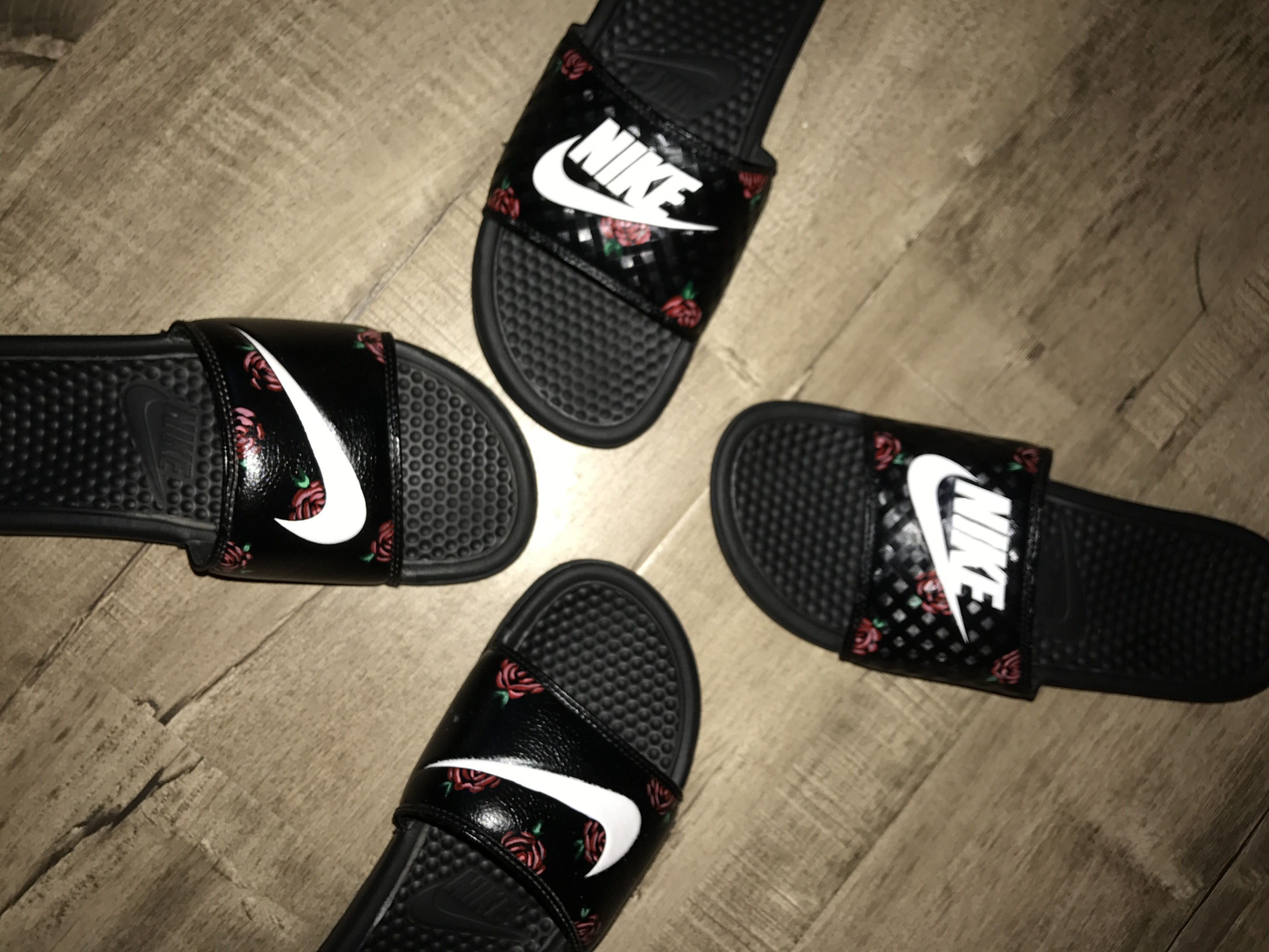 Custom Rose Nike Slides $85 hmu