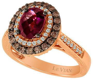 LeVian Raspberry Rhodolite and Chocolate Diamond; Ring in 14 Kt. Strawberry Gold;, 0.6 ct. t.w. on shopstyle.com