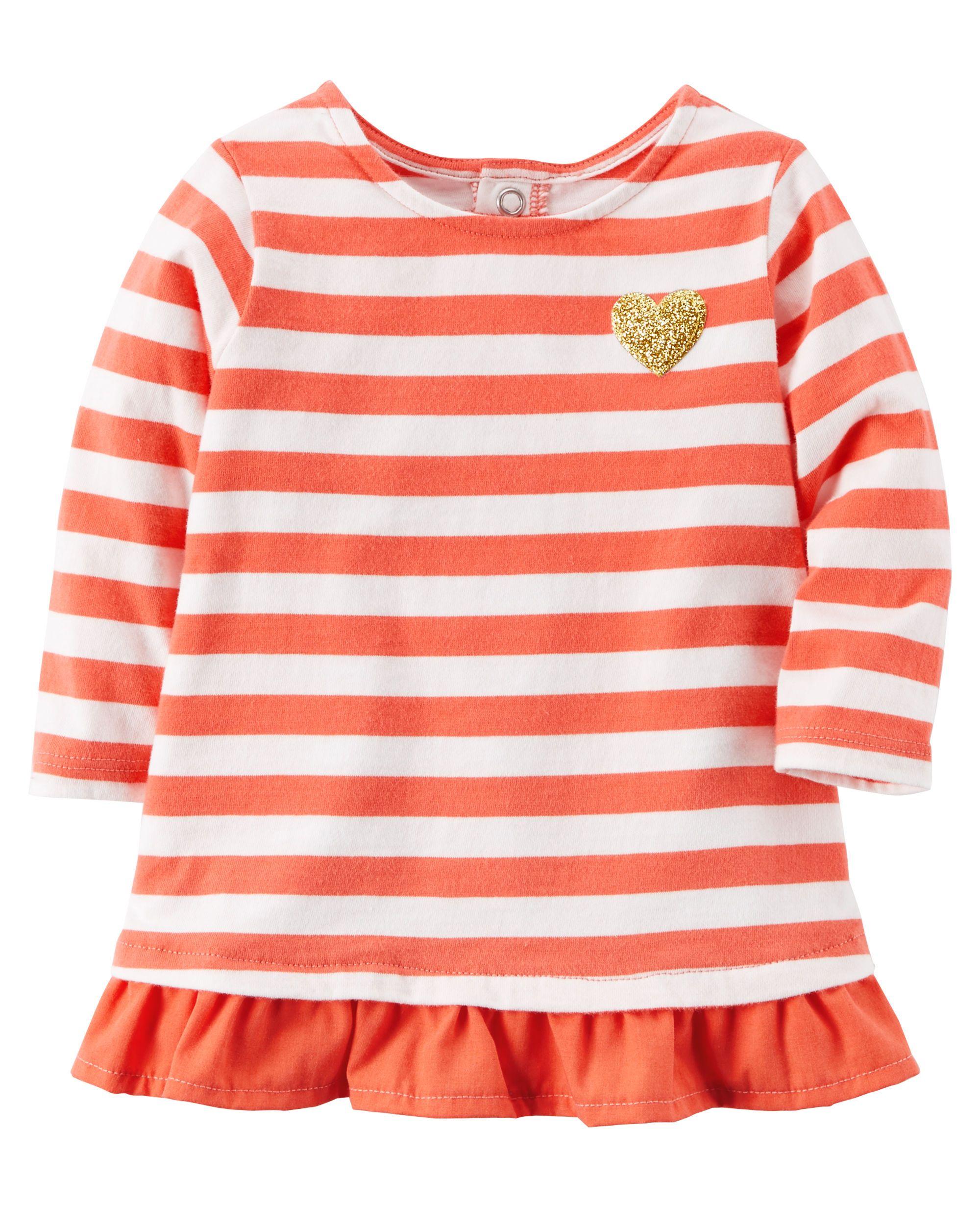 Ruffle Hem Striped Shirt