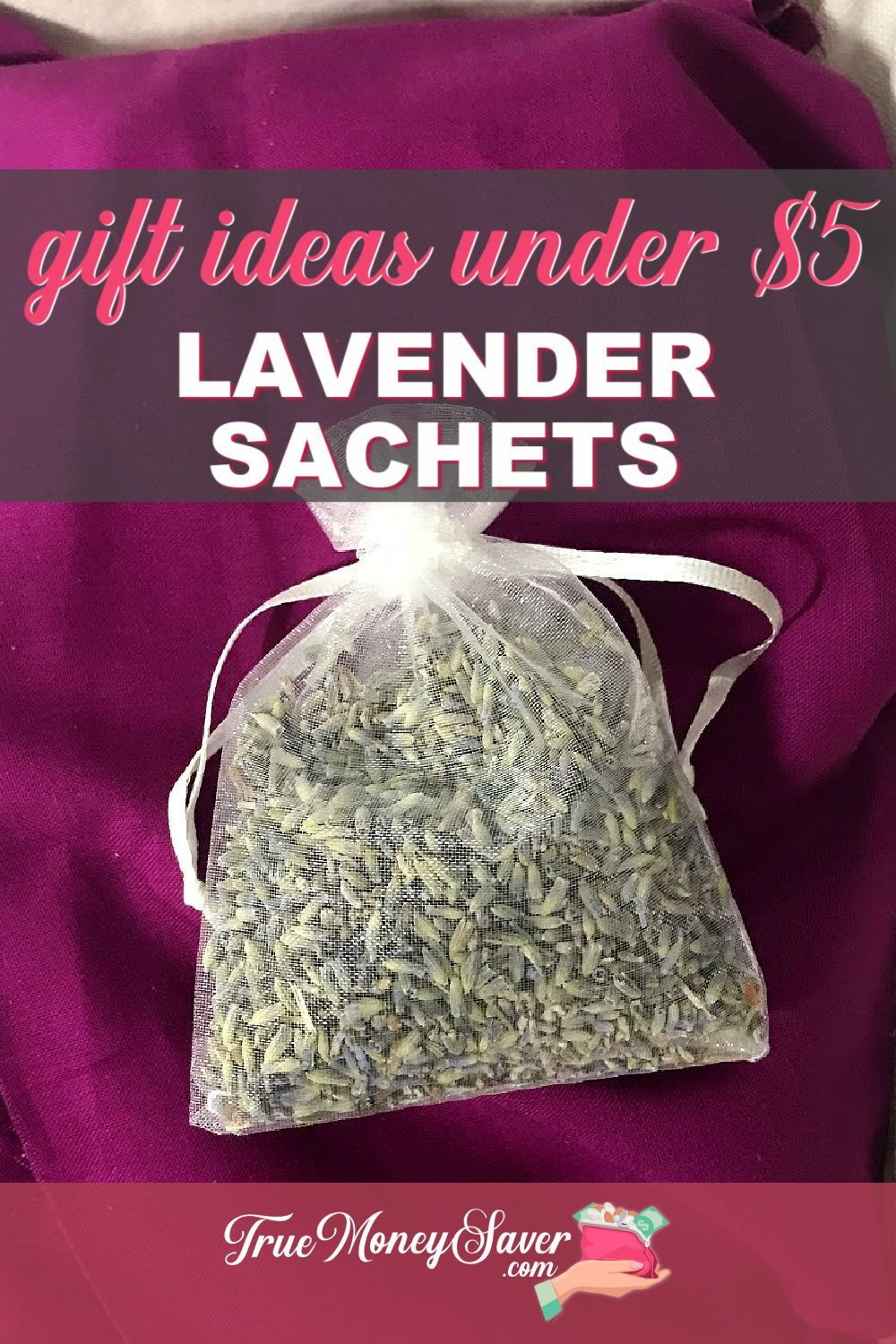Put this easy #DIY gift on your list! Check out these NEW 12 #gifts under $5! They are DIY gift ideas that everyone will love! Plus, these creative DIY #homemade gifts will help keep your budget in check! #truemoneysaver #christmas #gifts #makeyourowngifts #doityourselfgifts #craftedgifts #giftstomake   cheap gifts   dried lavender uses   cheap gift ideas   Christmas present ideas   lavender sachet   homemade gift   homemade gift ideas   homemade presents   what to do with lavender  