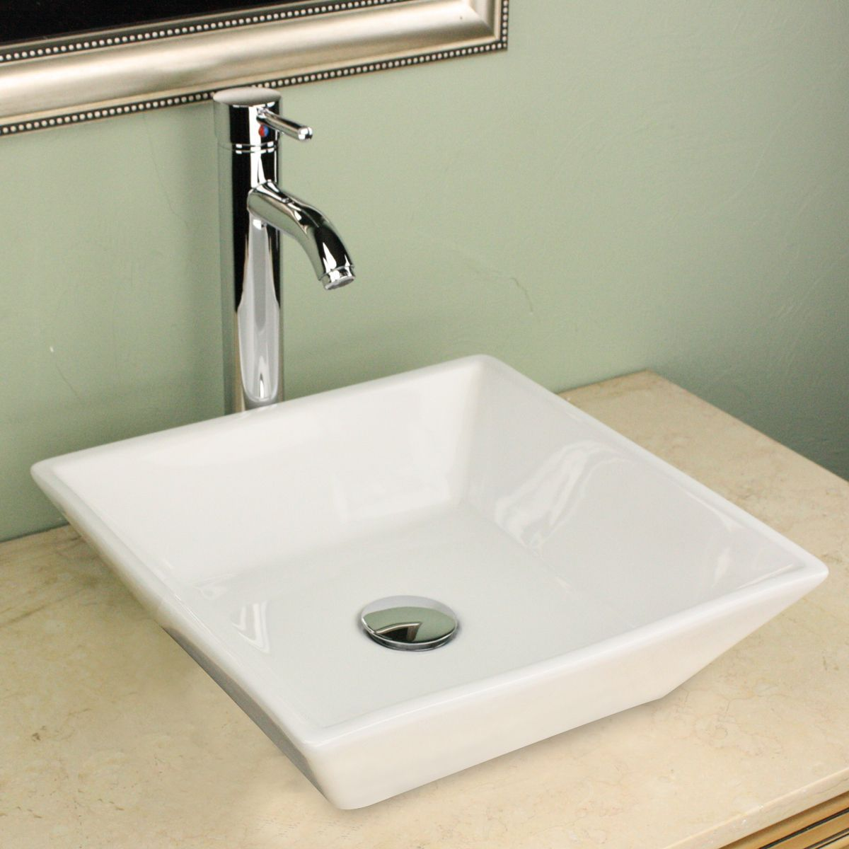 Highpoint Collection 16 Inch Square White Vessel Sink With Faucet