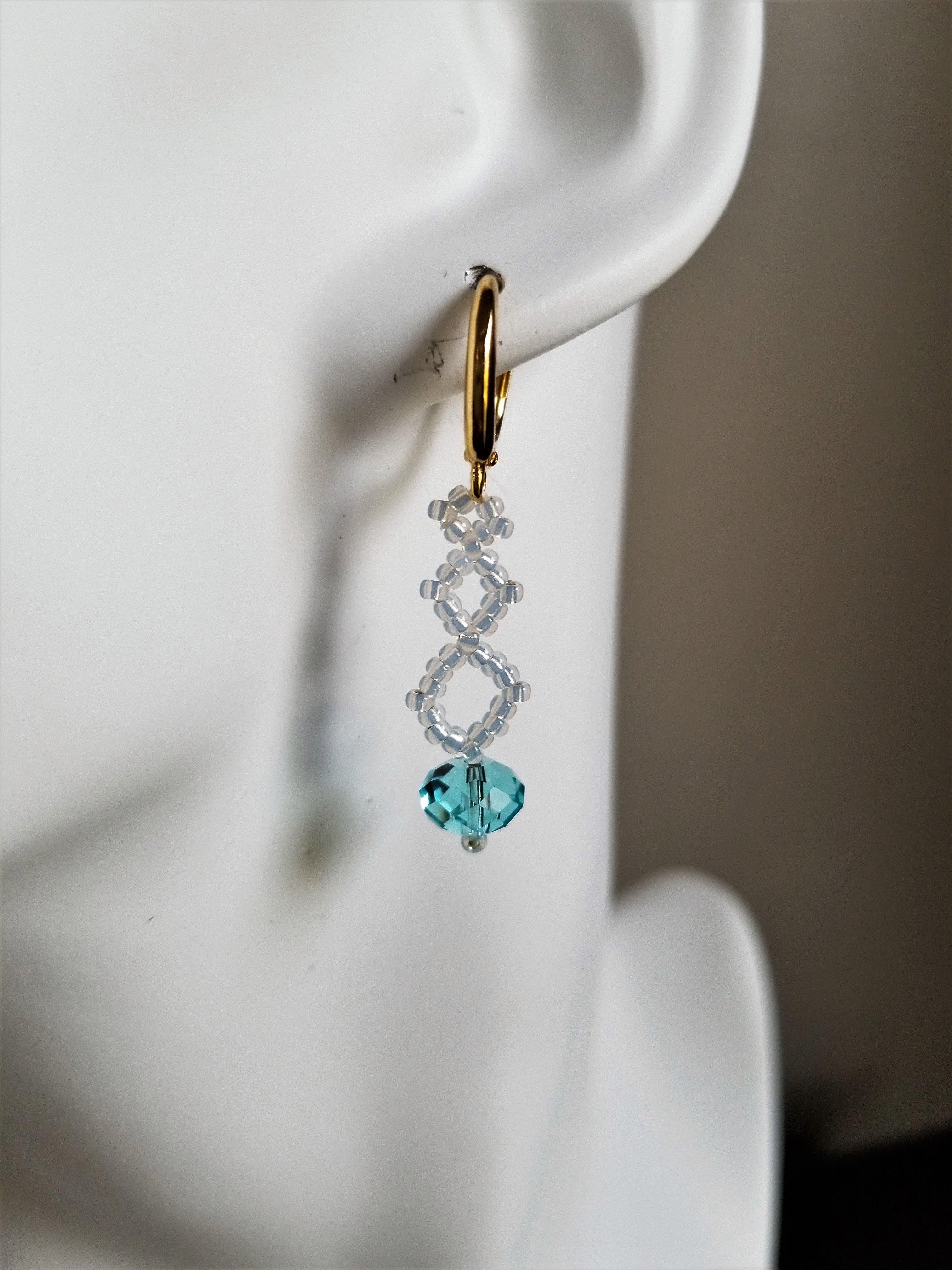 20a541b169c3a Swarovski Blue Crystal Earrings, Jewelry Gift For Her, Drop Earrings ...