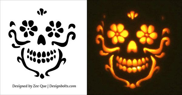 Free beautiful skull pumpkin carving stencil