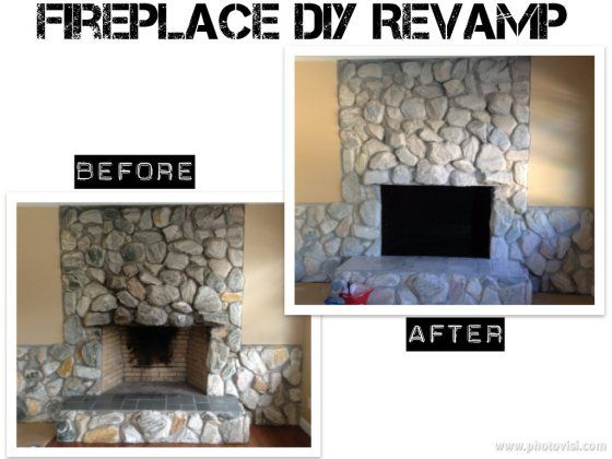 whitewashed stone fireplace Google Search rustic decor