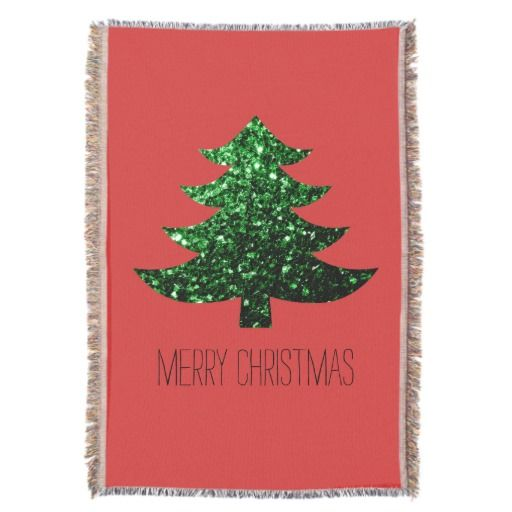 Merry Christmas tree green sparkles + text Red Throw Blanket by #PLdesign #ChristmasSparkles #SparklesGift #ChristmasGift