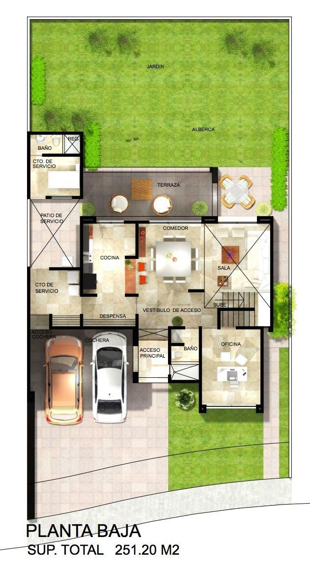 Planta baja sala comedor con doble altura amplia cocina for Plano de pieza cocina y bano