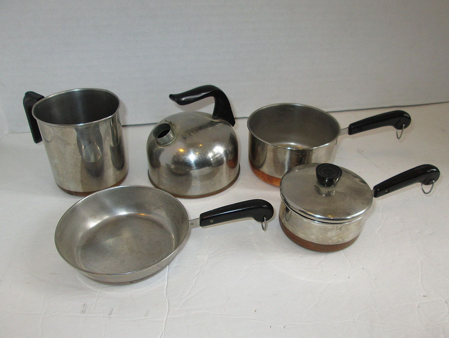Vintage Revere Ware Copper Bottom Pots And Pans Cookware Set For