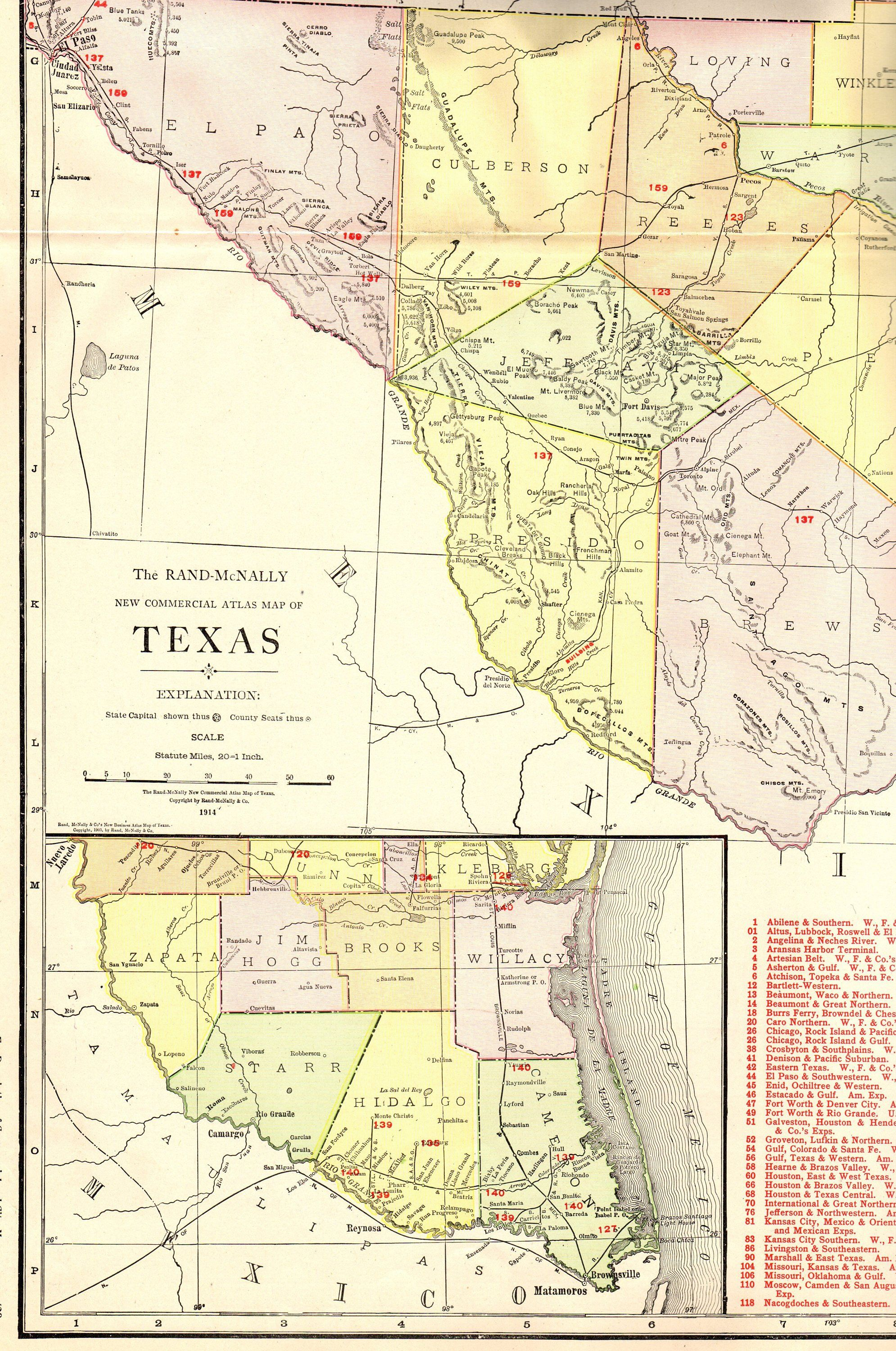 Map Of Texas Railroads.1914 Antique Texas Map Of Texas Poster Size W Railroads Western