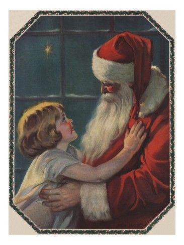 Illustration of Santa with Little Girl ...  this is such a sweet picture. I love the expressions on their faces.