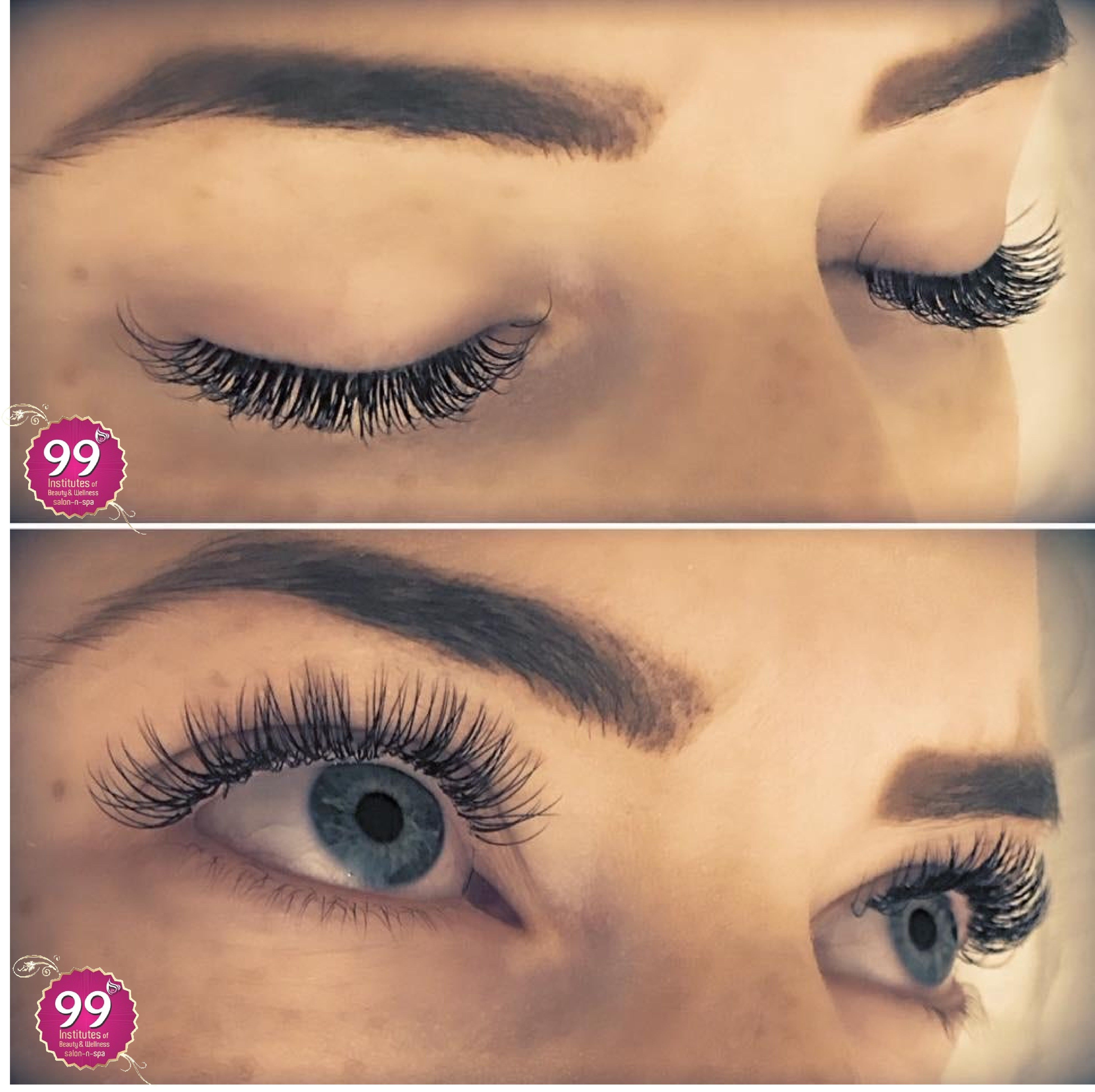 99 Eyelash extension are worn by ladies to thicken the