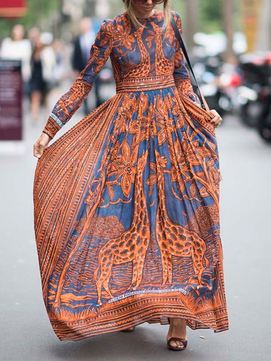 Orange swing daytime casual long sleeve printed animal maxi dress