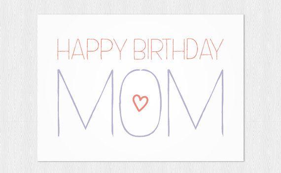 Happy Birthday Mom Greeting Card Instant Download Pdf Diy