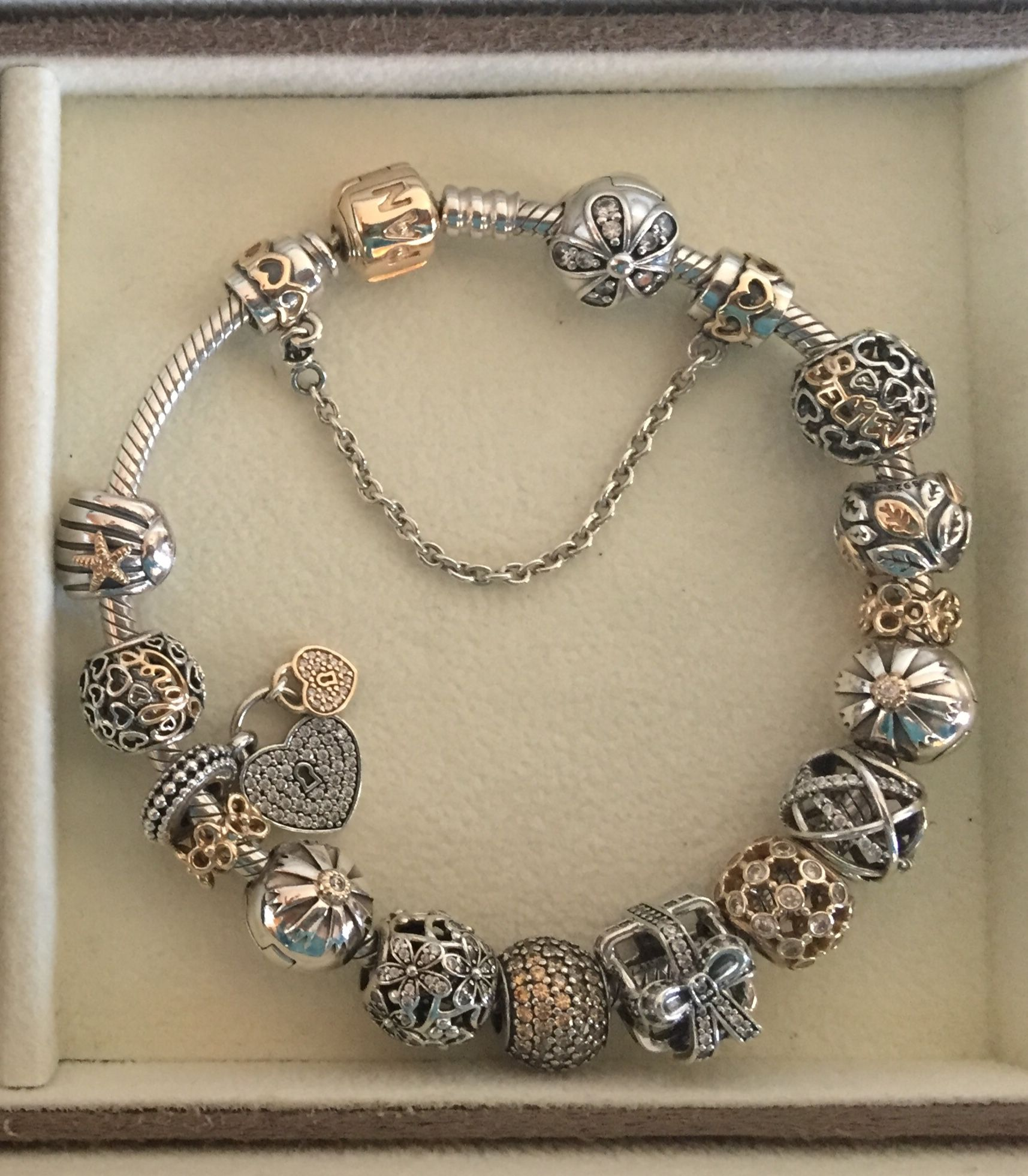 08883e0ae Pandora bracelet with two tone gold and silver charms | Accessories ...