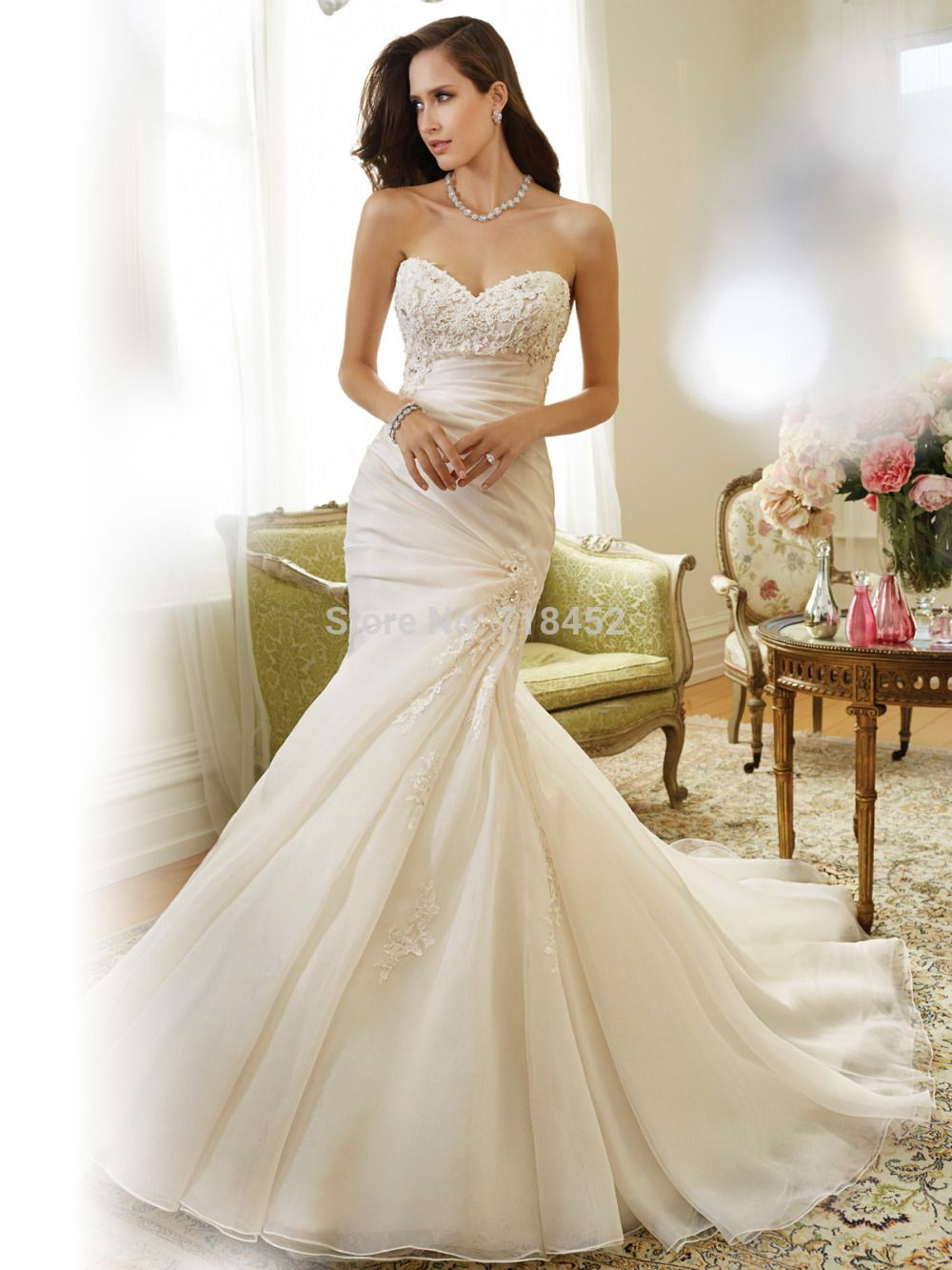 Lace sweetheart wedding dress  Mermaid  Wedding Dress Appliques Sweetheart Bridal Gowns Lace Up