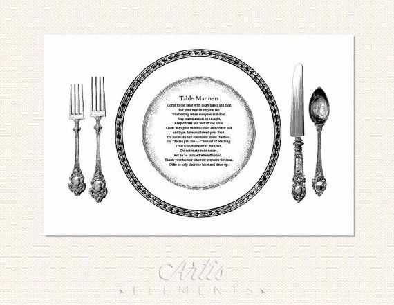 Printable Table Manners Placemat Helps Teach Basic Dining Etiquette To Kids And Adults Too