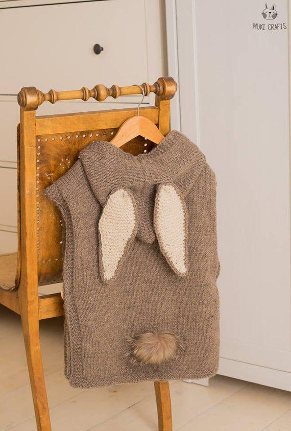 KNITTING PATTERN bunny poncho with pocket Phoebe #crochetedkitemsthatsell