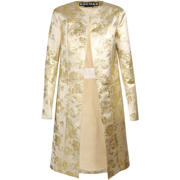 ROCHAS Collarless Silk Brocade Coat ($ 1,055) found on Polyvore