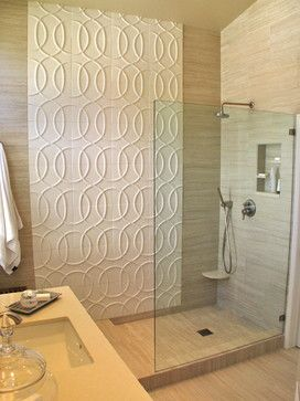 Textured Geometric Trellis Pattern Tile In White As An Accent In Large Walk In Inexpensive Bathroom Remodel Affordable Bathroom Remodel Guest Bathroom Remodel