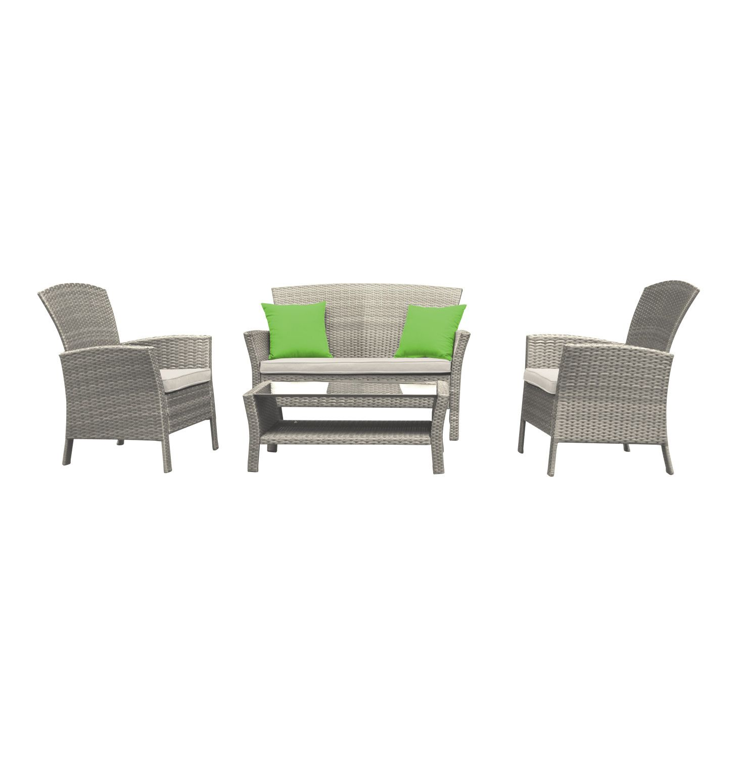 TERRACE LEISURE 4 Piece Oasis Wicker Set Cream