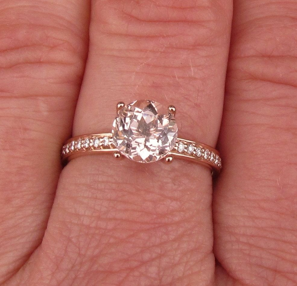 14k Rose Gold Peach Morganite Engagement Ring in Diamond Accented ...