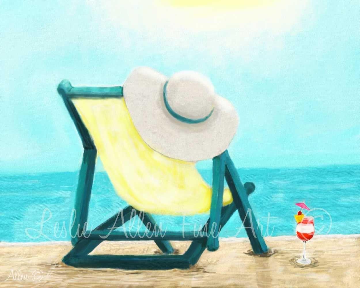Beach Art Print Margartia Art Print Chair Coastal Art Print Sunny