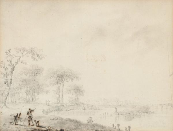 Attribué à Jean-Baptiste Pillement Lyon, 1728 - 1808 - Personnages au bord d'une [...], Succession de Monsieur L. Tableaux, Dessins, Sculptures, Miniatures - 1ère Partie à Artcurial | Auction.fr