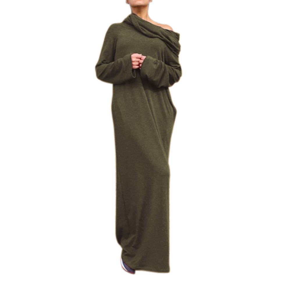 Preself new sexy women off shoulder hooded shirt maxi long party