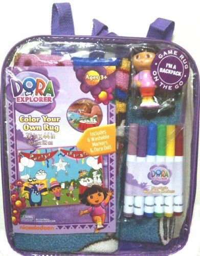 "Dora the Explorer Color Your Own Rug, 32""x44"", Includes 6 Washable Markers and Dora Doll with Backpack Carrying Bag by Nickelodeon. $23.88. 6 Washable markers allow the child to ""color"" the rug. Carrying case acts as a backpack. An interactive game rug that includes 6 washable markers and a Dora doll.  Rug packaging acts as a backpack."