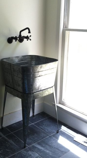 Reuse Idea For A Bathroom Sink  Use An Old Galvanized Washbasin.  #tinyhousehacks @