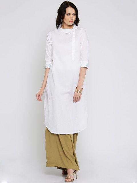Buy Anouk Women White Solid Straight Kurta - Kurtas for Women   Myntra