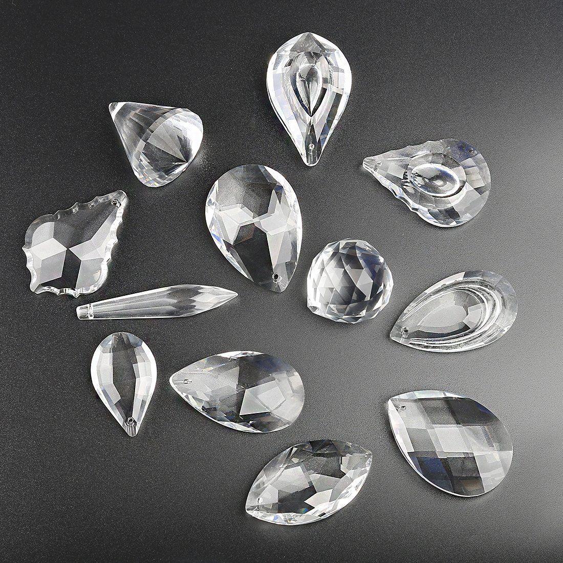 H/&D Pack of 12 Clear Crystal Chandelier Lamp Lighting Drops Pendants Balls Prisms Hanging Glass Prisms Parts Suncatcher Home//House Decor