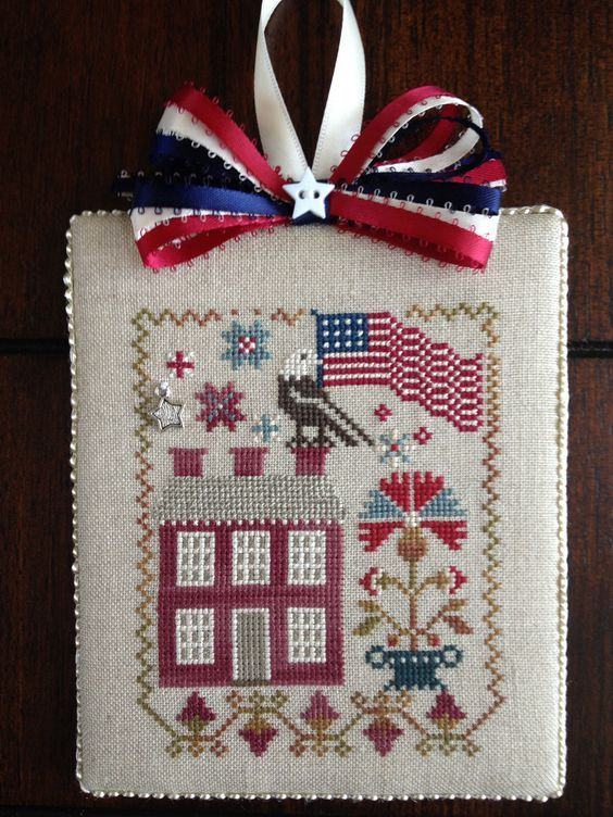 Patriotic cross stitch ornament In Full Glory by Black Bird Designs.: