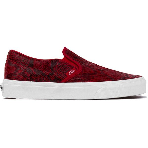 Vans Classic Chili Pepper Pebble Snake Slip-On Sneakers ( 32) ❤ liked on  Polyvore featuring shoes f982c6e13