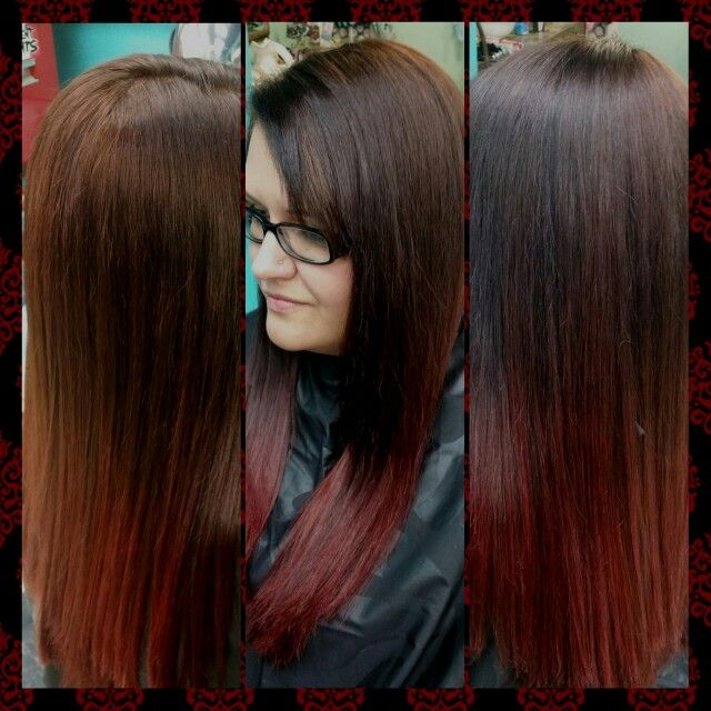 Chocolate brown to red ombre