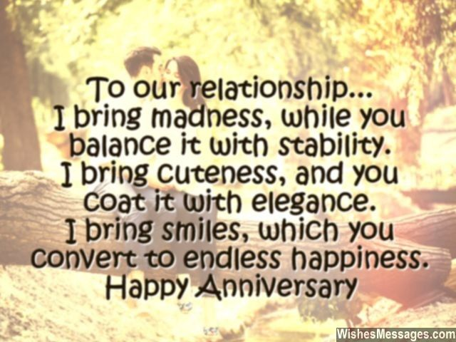To our relationship i bring madness while you balance it with happy anniversary card message for him husband wife altavistaventures Image collections