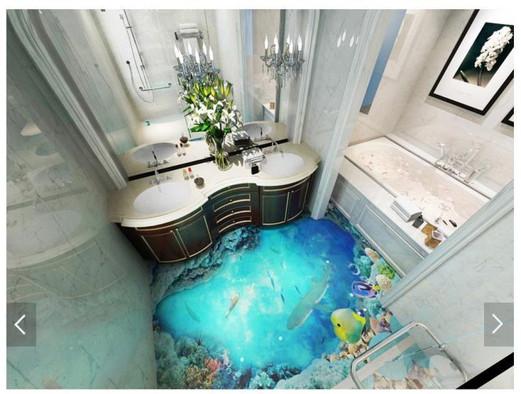 Pin Von Scott Pike Auf Deco Interieure En 3d Ou Trompe L Oeil Bad Wandbild Wandtapete Bodenbelag Fur Badezimmer