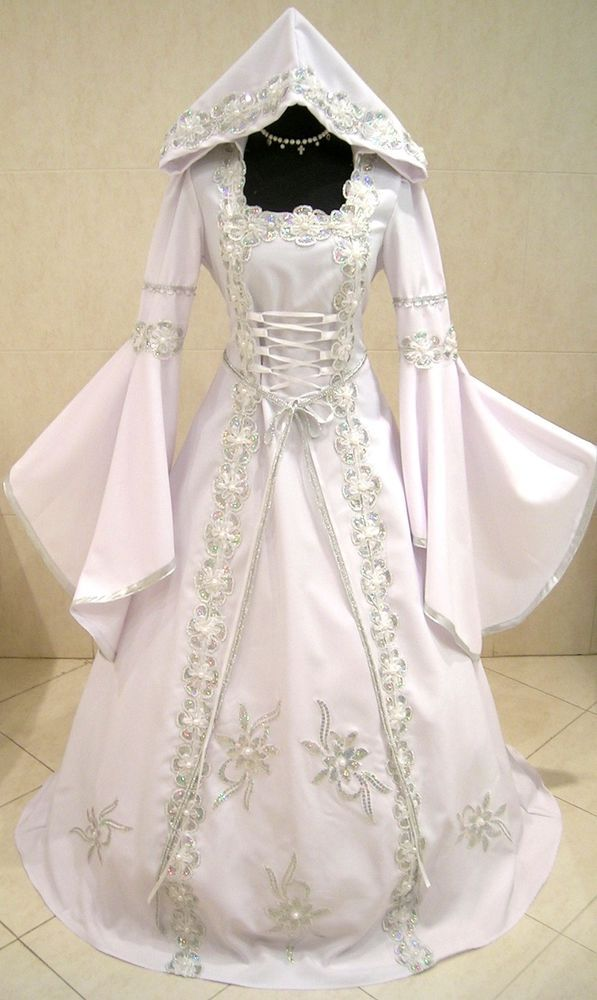 Silver Medieval Wedding Dress Victorian Goth S M 10 12 14