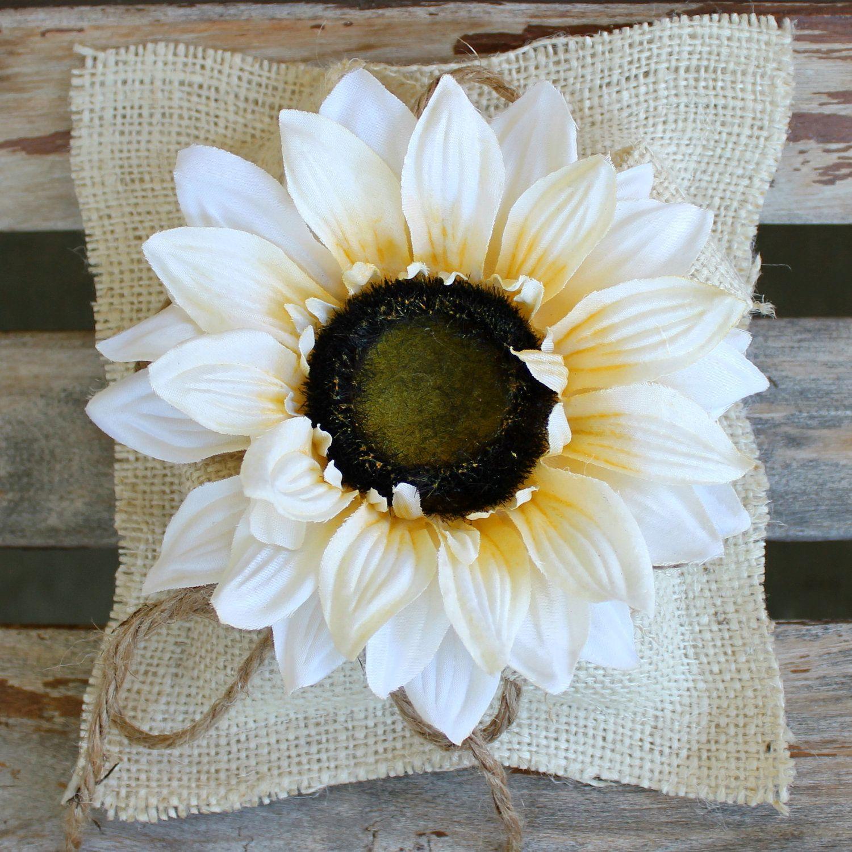 Burlap Ring Bearer Pillow with Sunflower Second weddings