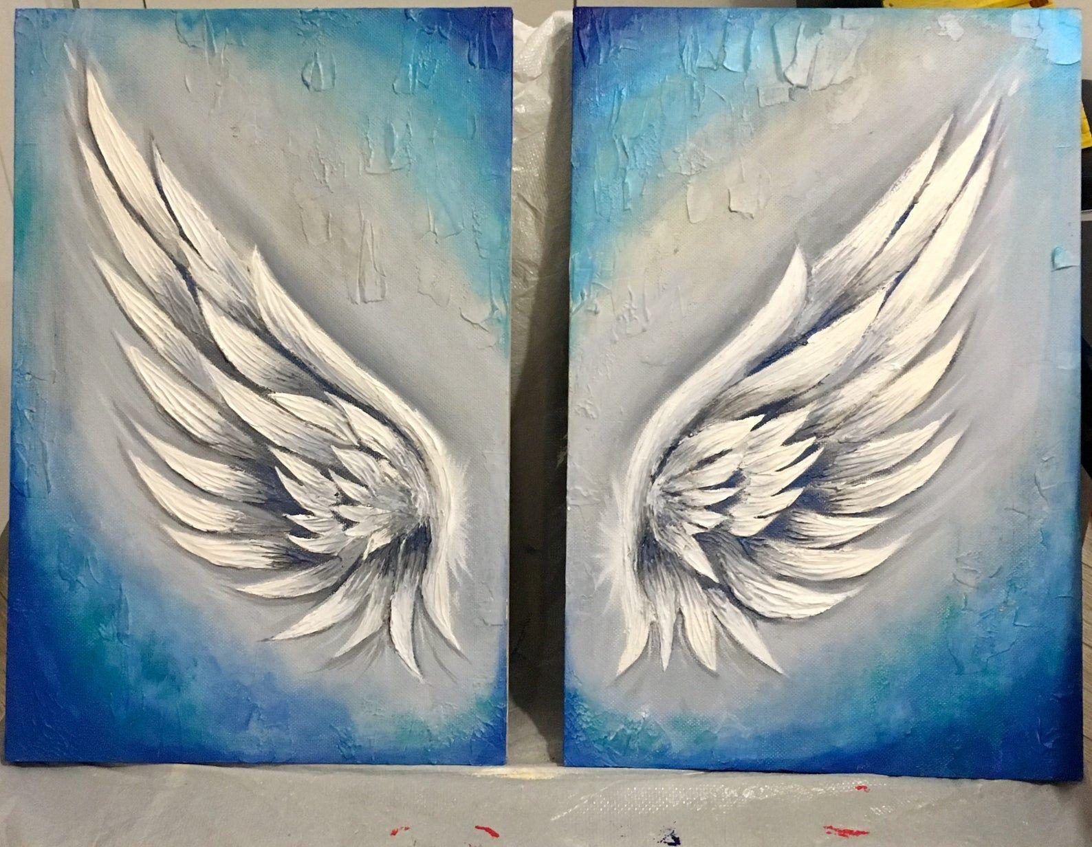 Angel wings textured paintings angel wings wall decor