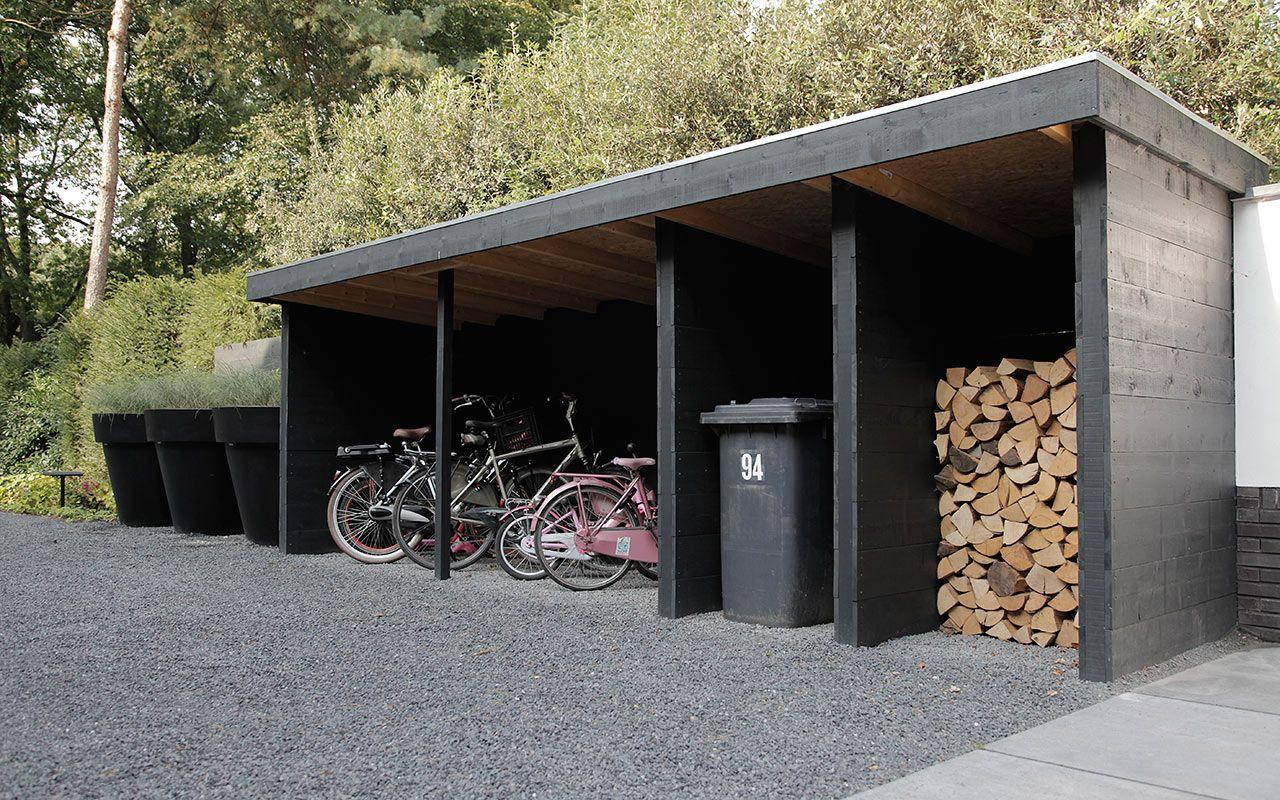 Opslag voor onder andere fietsen kliko 39 s en openhaardhout tr dg rd pinterest utomhus - Studio opslag ...