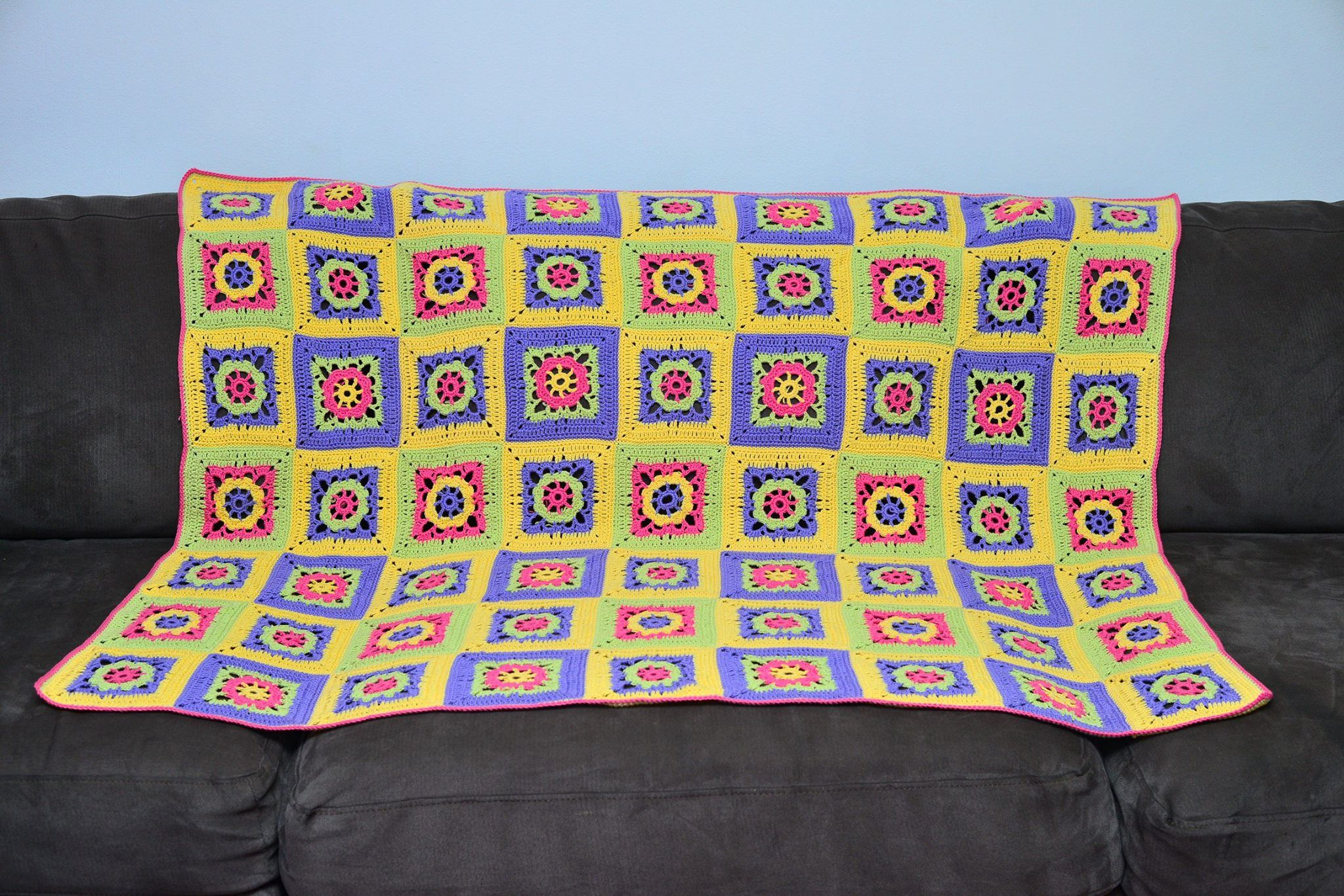 Bright and colourful afghan