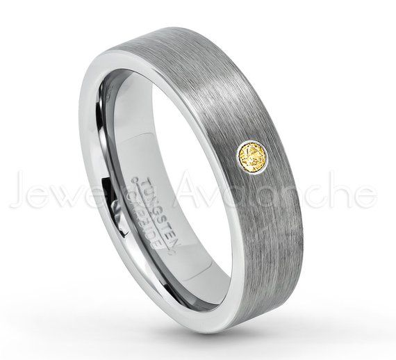 0.07ct Topaz Tungsten Ring November Birthstone Ring Jewelry Avalanche 8MM Brushed Finish Pipe Cut Tungsten Carbide Wedding Band