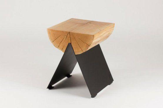 Baumstamm Beistelltisch Hocker 12 Eiche Natur Schwarz Tisch
