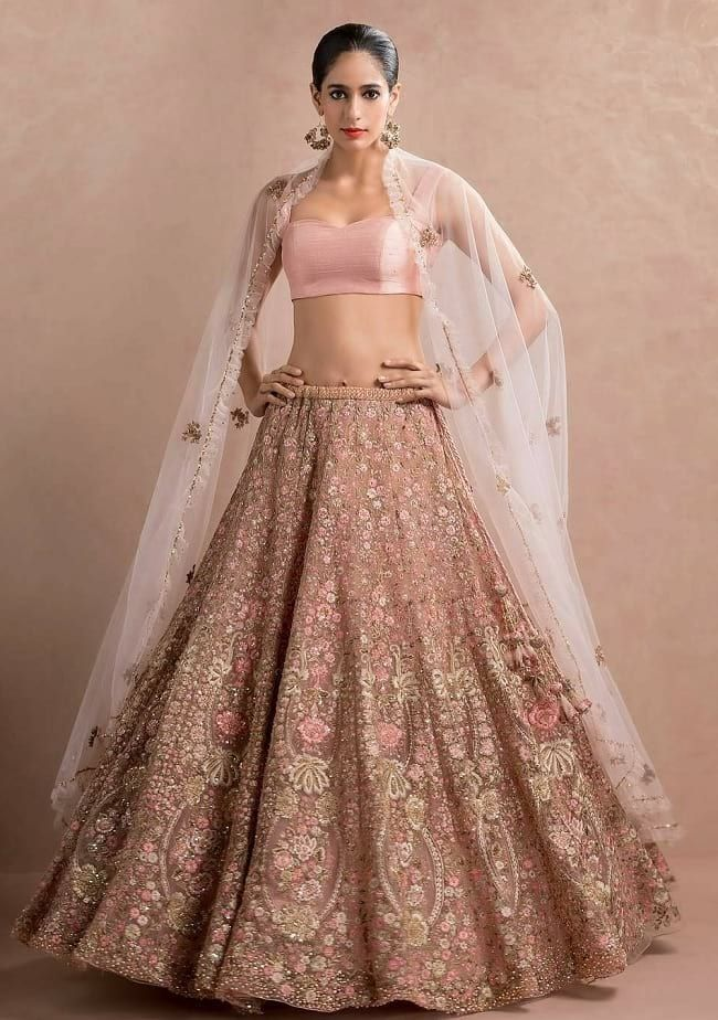 9247025529 Light Pink Bridal Lehenga Choli With Heavy Embroidered #Embroidered #Light  Pink #Wedding #Net