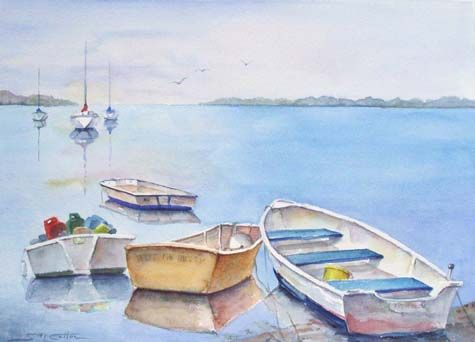 Watercolor Paintings of Boats by the Dock | small boats at the dock 11 x 15 $ 250