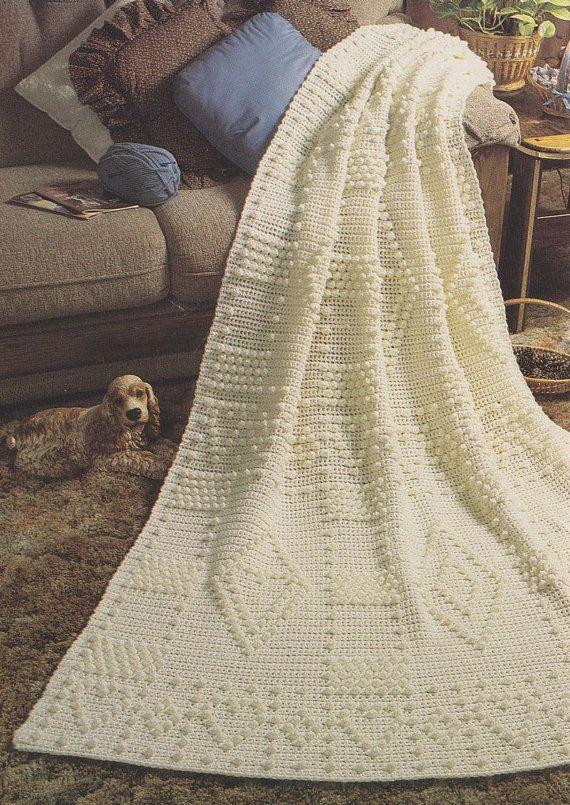 Adorn with Hearts Afghan Crochet Pattern Fisherman Aran
