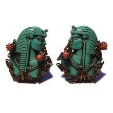 SELRO/SELINI 1940's - 50's Pharaoh Turquoise Color Clip Earrings