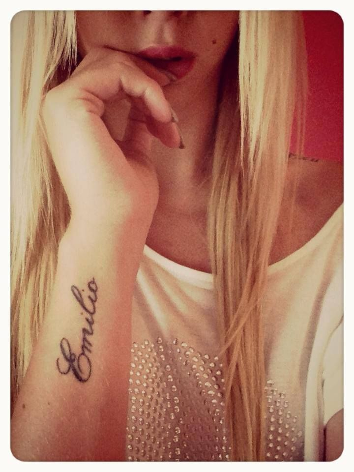 Side Wrist Name Tattoos : wrist, tattoos, #Wrist, #Tattoo, Tattoos,, Husband, Tattoos, Wrist