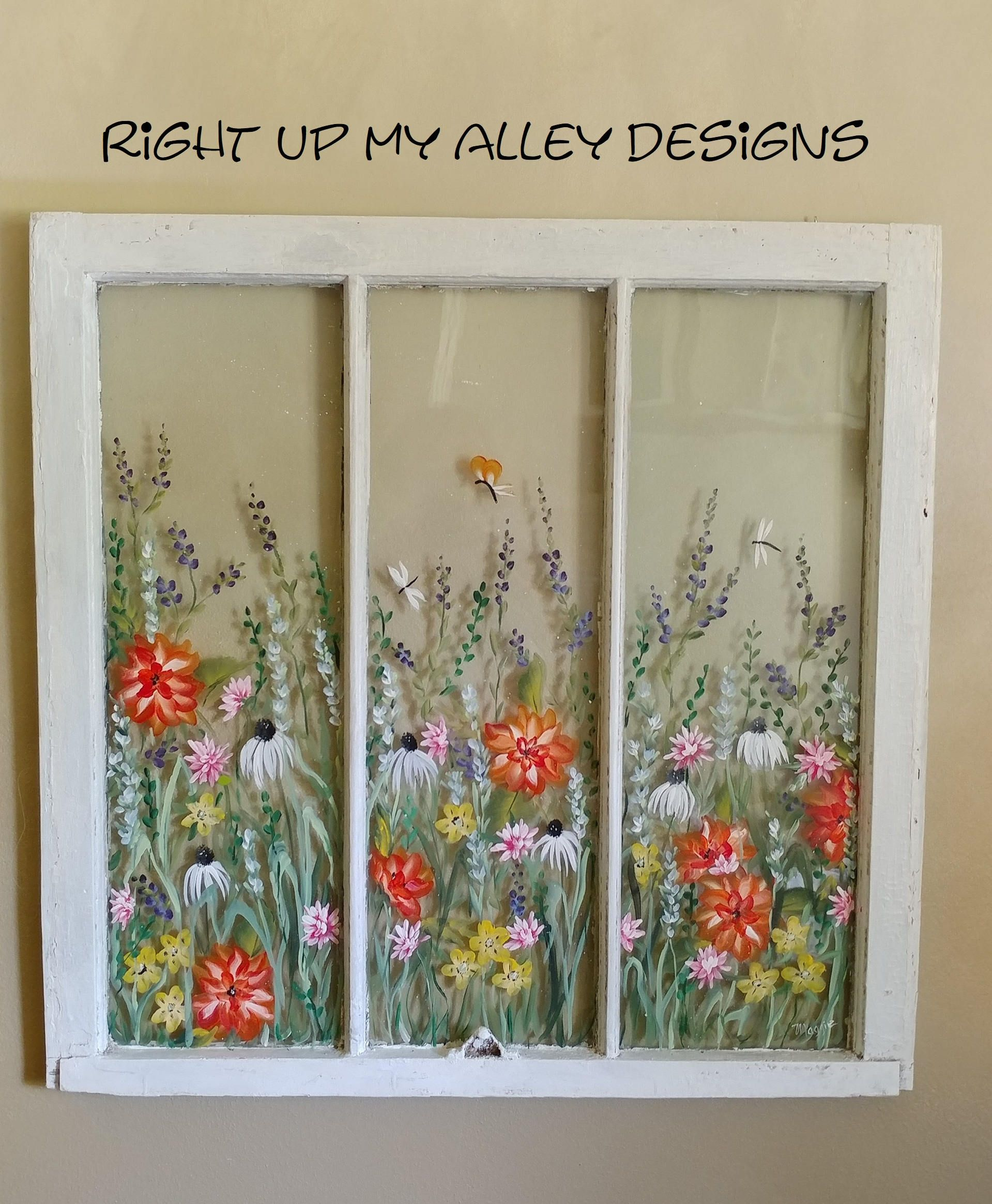 Old Painted Window Sold But You Can Custom Order Your Own Window Ideas Wall Art Vintage Painted Window Unique Wall Art 3pane Window Window Painting Old Windows Painted Window Pane Art