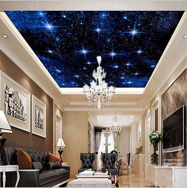 3d Custom Night Sky Stars Ceiling Wallpaper Home Or Business Wallpaper Ceiling Ceiling Murals Living Room Ceiling